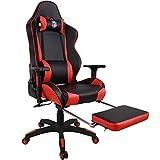Kinsal Chaise Gaming de bureau à dossier haut, ergonomique racing chaise, cuir premium support lombaire pivotant Executive eSPORTS Chaise de bureau avec appui-tête et soutien lombaire Taie d'oreiller (Noir/Rouge)