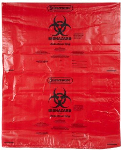 bel-art Produkte 131643138Biohazard Entsorgung Tasche mit Sterilisation Indikator Patch, 25bis 35gal Kapazität, Polypropylen, 78,7cm Breite x 96,5cm Höhe, rot (200Stück) -