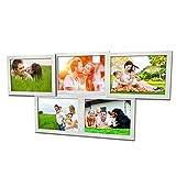 Fotogalerie für 5 Fotos 13x18 cm - 3D 502 Optik - Bilderrahmen Bildergalerie Fotocollage Rahmenfarbe Silber gebürstet