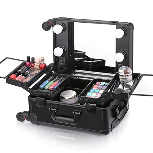 Ovonni Kosmetikkoffer Makeup Train Case Mit LED Spiegel 4 Abnehmbare Räder Abschließbar Professional Artist Salon Studio Multifunktionen Schwarz (Case Aluminium-train)