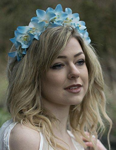 Ciel bleu blanc bandeau fleur d'orchidée style Boho festival Tropical Vintage Grand O65 * * * * * * * * exclusivement vendu par – Beauté * * * * * * * *