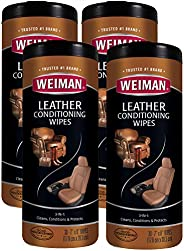 Weiman Leather Wipes - 4 Pack - Clean Condition Ultra Violet Protection Help Prevent Cracking or Fading of Lea