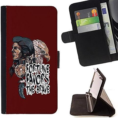 All Phone Most Case / Cellulare Smartphone cassa del cuoio della calotta di protezione di caso Custodia protettiva per SAMSUNG GALAXY C7 // Fortune Favors The Brave - Indian Native American & Eagle