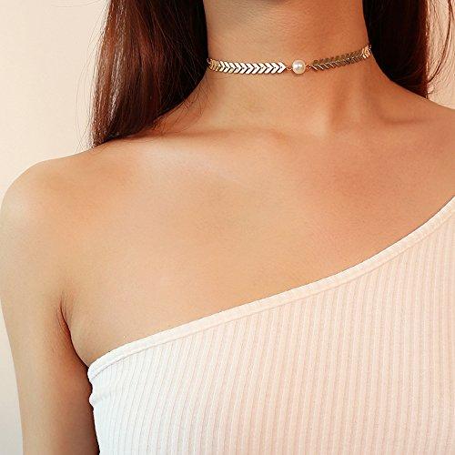 Kercisbeauty, collana girocollo a lisca di pesce, con motivo a V e perla, colore oro o argento, per donne e ragazze, fatta a mano e unica, regalo per lei, ideale per feste, vita quotidiana, anniversario, compleanno, San Valentino