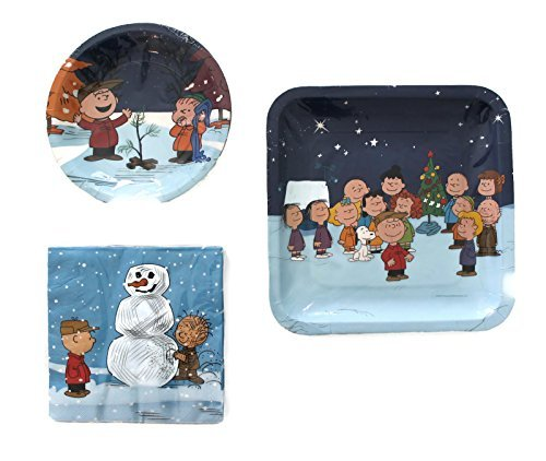 Peanuts Gang Charlie Brown Snoopy Christmas Party Pack (Teller und Servietten) 8 Guest Bundle