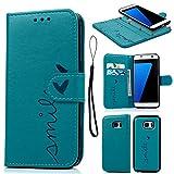 Geniric Funda S7 Edge, Carcasa Libro de Cuero Impresión de Amor PU Premium y TPU Funda Interna (2 en 1, Separable), Flip Wallet Case Cover para Samsung Galaxy S7 Edge - Azul