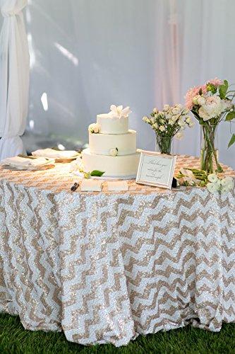 shinybeauty Pailletten Tischdecke 274cm rund Glitz Champagen Chevron Tisch Leinen Hochzeit Pailletten Tischdecken