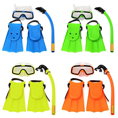 Generic Junior Children Snorkeling Set Snorkel Mask Goggles Flippers Scuba Swimming Diving Kids Set