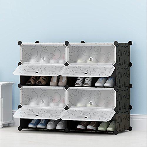 Sie Ihre Schuhe Passen Eigenen (ETTBJA DIY Portable Schuhschrank Aus Kunststoff-Schuh-Speicher-Organizer-Design ihre eigene (2 Reihe 4 Tier))
