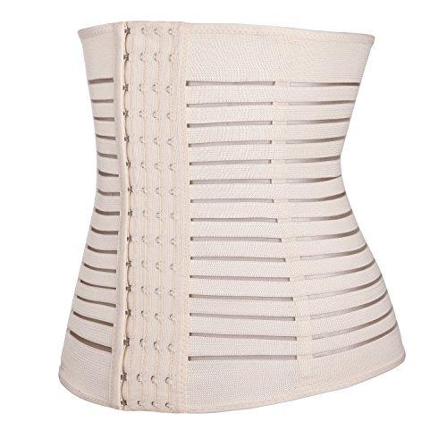 MISS MOLY Taillenformer|Damen Training Sport Unterbrustkorsett Waist Cincher Mit Stahlstäbchen Prägnant Undichtheiten Design Modell2 Beige
