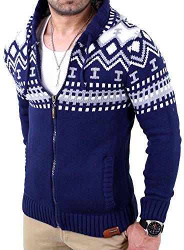 Reslad Herren Grobstrick Norweger Pullover Winter Strickjacke Kapuzenpullover RS-3104 Blau