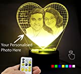 Lampees™ 3D Illusion Personalised LED Lamp with 7 colors change and Flashing Effect also comes with remote and USB cable can also use with AA size batteries