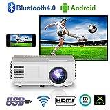 Portable sans Fil Projecteur HDMI Bluetooth,Mini Android Bluetooth Vidéoprojecteur HD,Multimédia LCD LED 1080P Home Cinéma WiFi Projecteur pour iPhone TV DVD Mac PS4 Chromecast Jeux Video Films