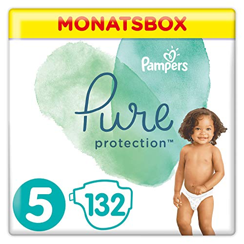 Pampers Pure Protection Windeln, Größe 5, 132 Windeln, 11kg+, Monatsbox