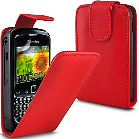 ( Red ) Blackberry Torch 9800 Premium Faux Skin Case Flip couverture en cuir et écran LCD Protecteur by Fone-Case