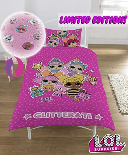 L.O.L. Sorpresa! Copripiumino singolo con federa LOL Sorpresa Glitterati Serie Confetti Pop LOL Biancheria da letto Reversibile design Queen Bee Dolls Glitter Pattern - 3
