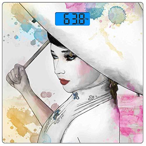 Präzisions-Digital-Personenwaage Asiatische Ultra Slim-Personenwaage aus gehärtetem Glas Genaue Gewichtsmessungen, Eastern Woman Girl mit orientalischem Regenschirm Zeichnen mit Wasserfarben und Pinse