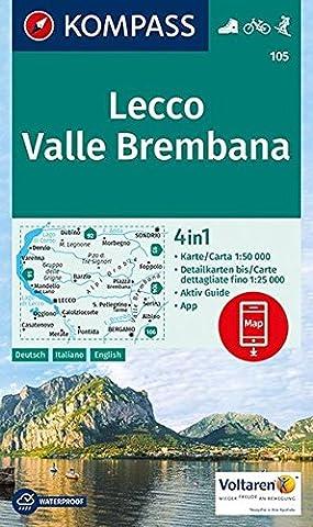 Lecco, Valle Brembana: 4in1 Wanderkarte 1:50000 mit Aktiv Guide und Detailkarten inklusive Karte zur offline Verwendung in der KOMPASS-App. Fahrradfahren. Skitouren. (KOMPASS-Wanderkarten, Band 105)