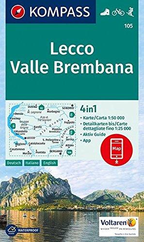 Lecco, Valle Brembana 1:50 000: 4in1 Wanderkarte 1:50000 mit Aktiv Guide und Detailkarten inklusive Karte zur offline Verwendung in der KOMPASS-App. Fahrradfahren. Skitouren.