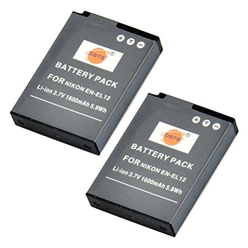 DSTE® 2x EN EL12 Li ion Batería para Nikon Coolpix P300, P310, P330, P340, S31, S70, S610, S620, S630, S640, S800c, S1000pj, S1100pj, S1200pj, S6000, S6100, S6150, S6200, S6300, S8000, S8100, S8200, S9050, S9100, S9200, S9300, S9400, S9500, S9600, AW100, AW100s, AW110, AW110s, AW120s
