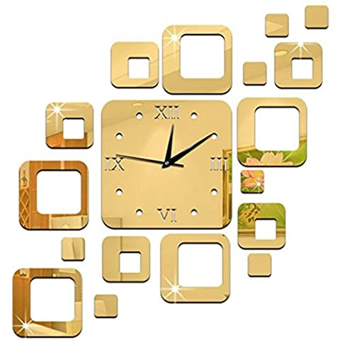 Clode® 48x50cm Unique Modern Design Home Office Decor 3D Frameless DIY Large Wall Sticker Clock Watches Mirror Effect Decal Home Baby Room Decoration Acrylic Glass Square Pattern Set - Silver (Gold)