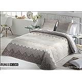 Textilhome - Colcha Bouti AVERY - cama de 150/160 cm. Color Beige + 2 Funda Cojín 60X60cm.