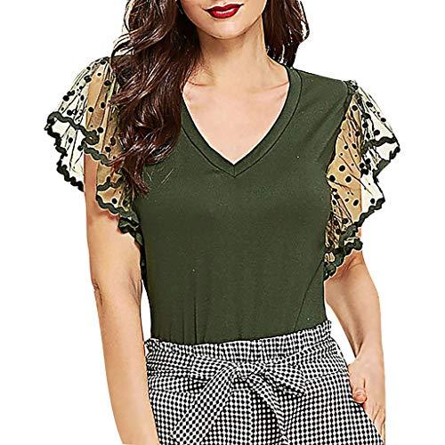 Flattern Ärmel Bluse (Toasye Mode Damen Perspektive Dot Mesh V-Ausschnitt T-Shirt Flattern Ärmel Tops Bluse Sommer Casual Bluse Oberteile)