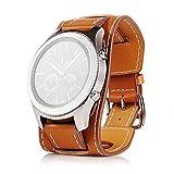 22mm Uhrenarmband Herren Damen Uhrband Ersatzuhr Lederarmband Ersatz-Armbanduhr Uhren Zubehör Watch Band Braun Schwarz (Braun)