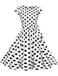 Amazon.it  vestiti anni 50 - Bianco   Vestiti   Donna  Abbigliamento 4cfbbcba7fdf