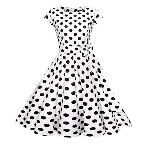 Kword Abito A Vita Alta con Stampa Retro Punto Donna, Abito da Festa Stile Anni '50 Audrey Hepburn,Mini Abito da Partito di Sera,Vestito Elegante Manica Corta (Nero, M)