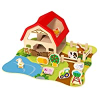 Tooky Toys Wooden Farm Set, Four Pieces Puzzle Toy for Toddler, Educational Animal Jigsaw for Preschool Kid, for Boys and Girls