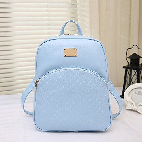 Hrph Women's PU Leather Backpacks Fashion Daypack Girl School Bag Travel Casual Bags Bleu