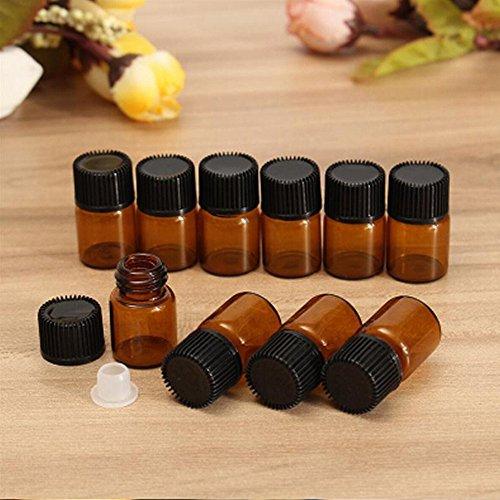 87a4e1a2ba81 ICYANG 12PCS 2 ml Amber Glass Essential oil Bottle with Orifice reducer and  Cap nero vuoto flaconcini mini contenitore marrone per viaggio casa