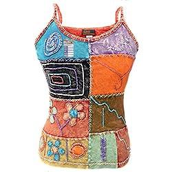 Little Kathmandu Mujer Patchwork bordado cuello redondo algodón Tank Tops