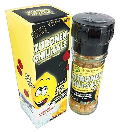 Zitrus-meersalz (ZICHISAZitronen Chilisalz Gewürzmühle mit Meersalz und frischen Chilis inklusive gratis Chilisamen!)