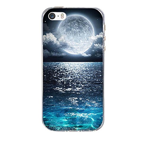 Custodia Apple iPhone 5 5S 5SE, Fubaoda iPhone 5 5S 5SE Bumper Case, Immagine vivida [super luna] Morbida Flessibile Estremamente TPU Gel Sottile Pelle Trasparente Antigraffio Protezione Cover per App pic: 02