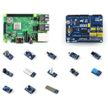 Pzsmocn Raspberry Pi 3 Model B+ Development Kit, Third Generation Pi,Contain Expansion Board ARPI600, Micro SD Card 16GB,Power adapter,USB cable.Various Sensors, Supports Arduino.