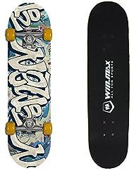 Senmi WIN.MAX Planche à Roulettes Skateboard 9 Plies Maple 3D Double Coup Concave Cool Doodle pour Primaire / Intermédiaire Jaune Blanc Bleu Vert Avec Sac de Skate-board