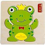 aokbi bebé niña niño niños DIY Cartoon Animal Forma de madera Puzzles Juguete de Inteligencia (rana)