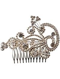 Jane Stone Peigne a Cheveux Fantaisie Paon Strass Brillant Femme Elegant Mariage Accessoires Decor