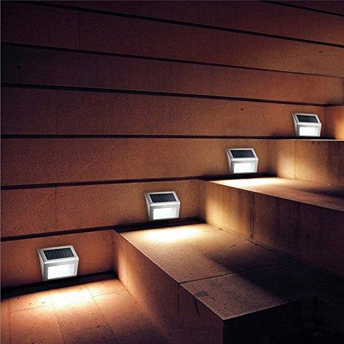 ThreeCat Solar Garten Lampe Haus Außenwand Lampe Treppe Lampe 3LED Edelstahl Korridor Lampe 2 Pack -