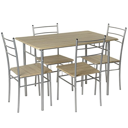 Marko Furniture Casablanca 5PC Dining Table 4 Chairs Dining Set Kitchen Furniture Metal Frame Bistro Set (Silver)