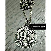 Binario 9 e 3/4, collana in metallo nichel free 25mm, Harry Potter Hogwarts