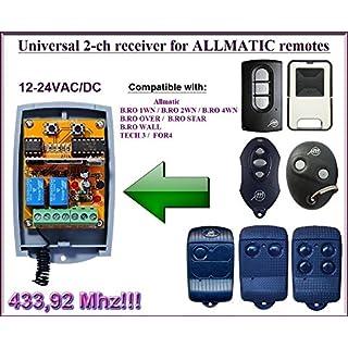 ALLMATIC compatible 2-channel receiver for ALLMATIC 433,92Mhz remote controls. 12-24VAC/VDC