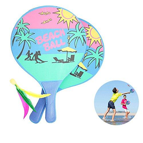 Paddle Ball Game, finlon Beachball Badminton Spiel Set Schläger Beachball Badminton Schläger Cricket Ball Indoor Outdoor Strand Play Rasen Sport für Kinder Erwachsene und Familien einfachste Schläger, der alle Welt