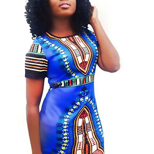 Robe Femme, Koly Femmes Traditionnelle Africaine Sexy Imprimer Dashiki Bodycon Dress Summer Sexy Robe à Manches Courtes Bleu