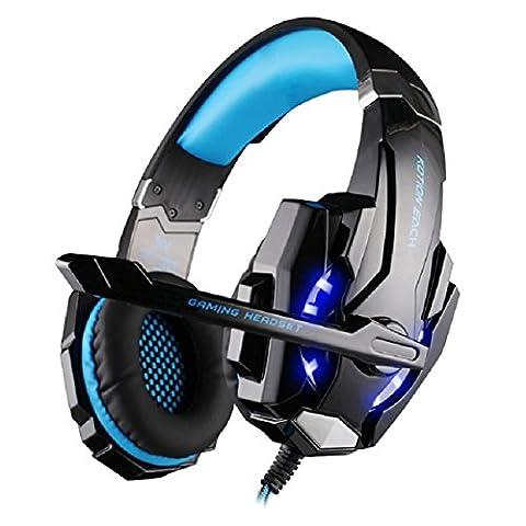 Megadream Over-Ear-Headset Kotion Each G9000, für Gaming, Telefon usw., 3,5mm Stecker, Stereo-Kopfhörer mit LED-Licht, Mikrofon, für Sony Playstation 4, Laptop, Computer, Tablet, iPhone, Samsung-Handy