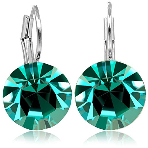 Damen-Ohrringe Grün Silber mit Kristallen von Swarovski® Blue Zircon NOBEL SCHMUCK