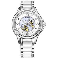 BUREI da donna perla cristallo zaffiro orologi al quarzo con Display analogico e braccialetto in (Intagliato A Mano Madreperla)
