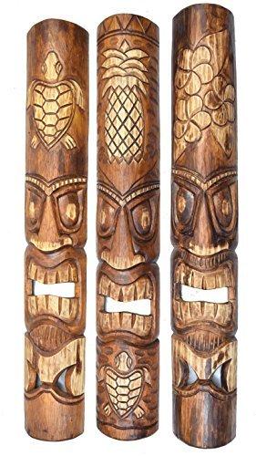 3-piezas-Tiki-Mscara-de-Pared-Mscara-Pared-En-El-Hawaii-Buscar-De-Madera-in-100cm-Largo
